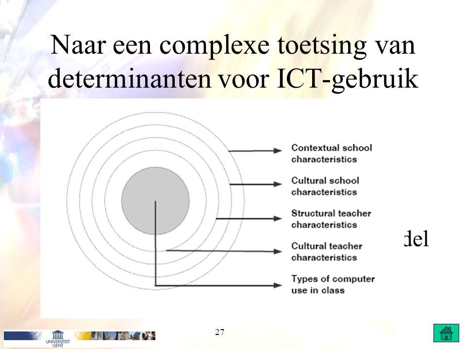 Naar een complexe toetsing van determinanten voor ICT-gebruik Onderzoek 4 Nieuwe schaal ICT-gebruik Alle variabelen op lkr. en schoolniveau als predic