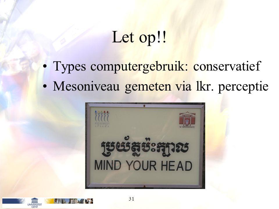 Let op!! Types computergebruik: conservatief Mesoniveau gemeten via lkr. perceptie 31