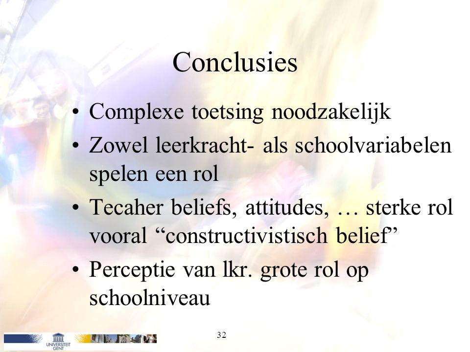 """Conclusies Complexe toetsing noodzakelijk Zowel leerkracht- als schoolvariabelen spelen een rol Tecaher beliefs, attitudes, … sterke rol vooral """"const"""