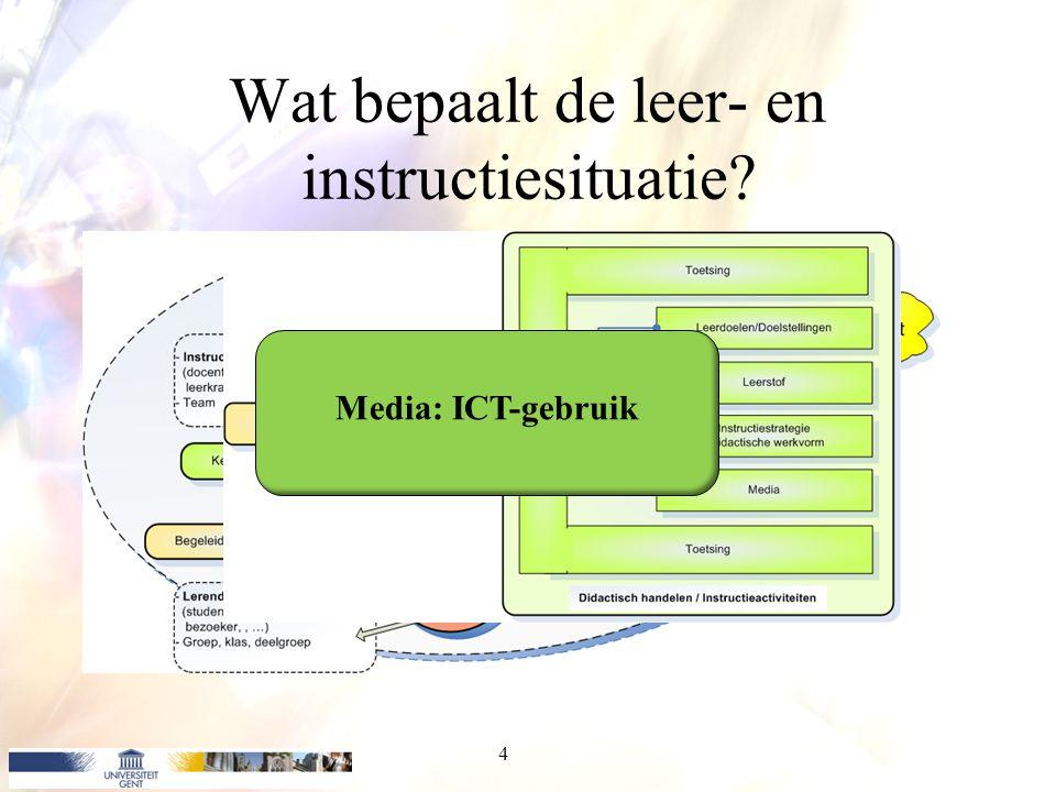 Wat bepaalt de leer- en instructiesituatie? 4 Media: ICT-gebruik