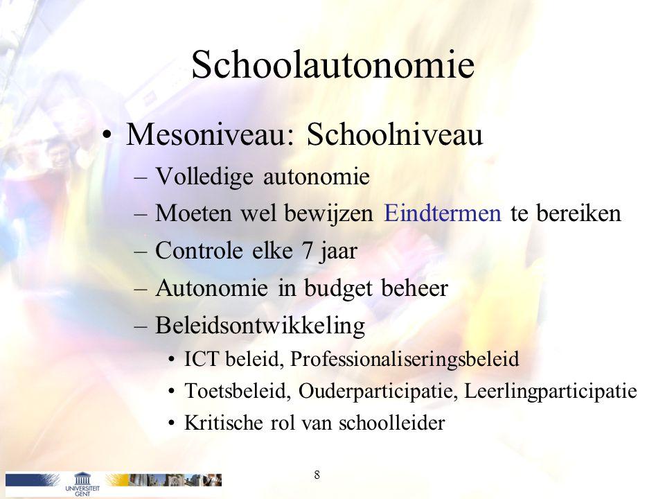Schoolautonomie Mesoniveau: Schoolniveau –Volledige autonomie –Moeten wel bewijzen Eindtermen te bereiken –Controle elke 7 jaar –Autonomie in budget b