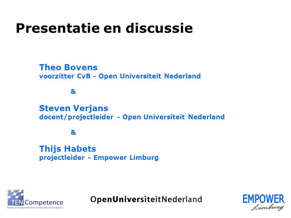 Theo Bovens voorzitter CvB - Open Universiteit Nederland & Steven Verjans docent/projectleider - Open Universiteit Nederland & Thijs Habets projectlei
