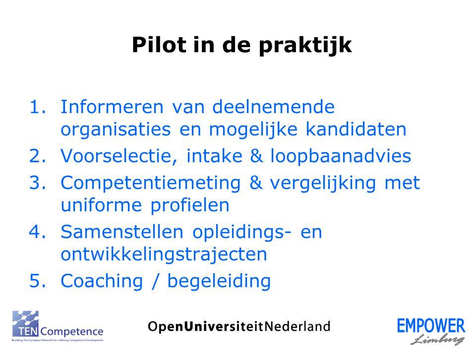 Pilot in de praktijk 1.Informeren van deelnemende organisaties en mogelijke kandidaten 2.Voorselectie, intake & loopbaanadvies 3.Competentiemeting & v