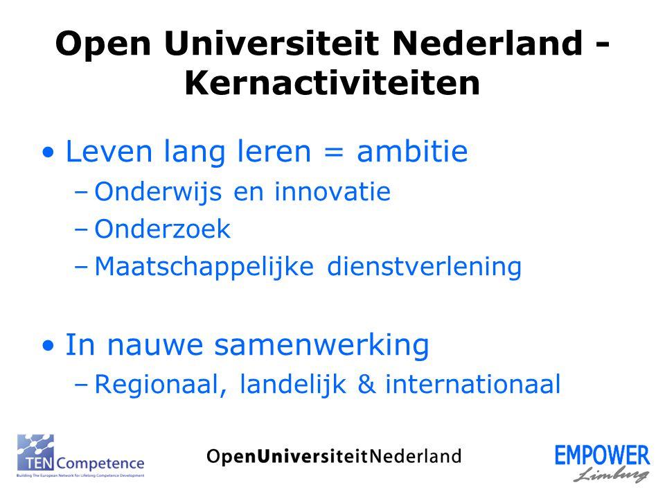 Open Universiteit Nederland - Kernactiviteiten Leven lang leren = ambitie –Onderwijs en innovatie –Onderzoek –Maatschappelijke dienstverlening In nauw