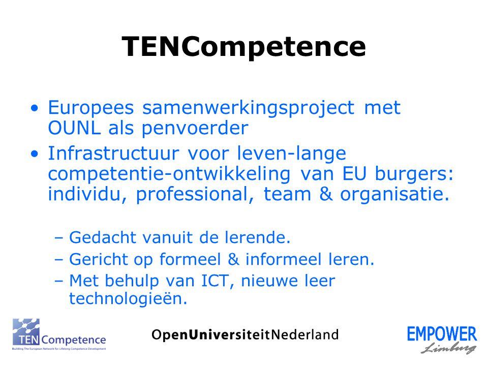 TENCompetence Europees samenwerkingsproject met OUNL als penvoerder Infrastructuur voor leven-lange competentie-ontwikkeling van EU burgers: individu,