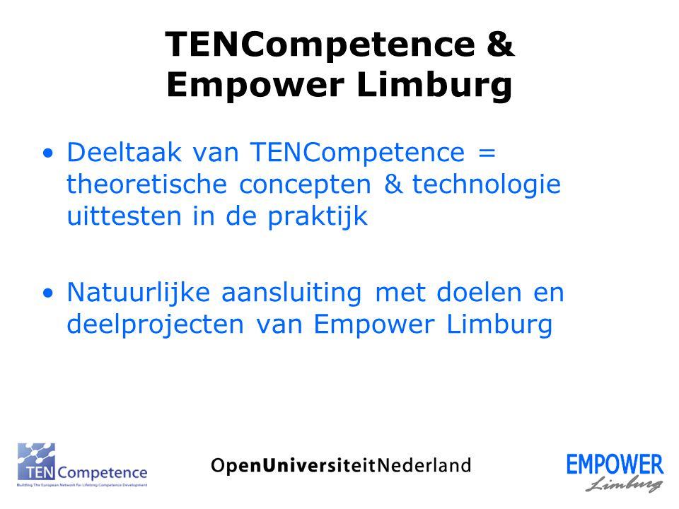 TENCompetence & Empower Limburg Deeltaak van TENCompetence = theoretische concepten & technologie uittesten in de praktijk Natuurlijke aansluiting met