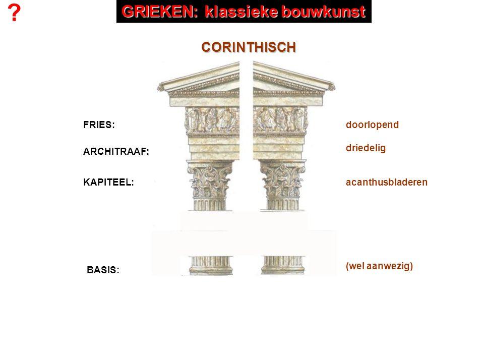 FRIES: ARCHITRAAF: KAPITEEL: BASIS: CORINTHISCH doorlopend driedelig acanthusbladeren (wel aanwezig) ? GRIEKEN: klassieke bouwkunst