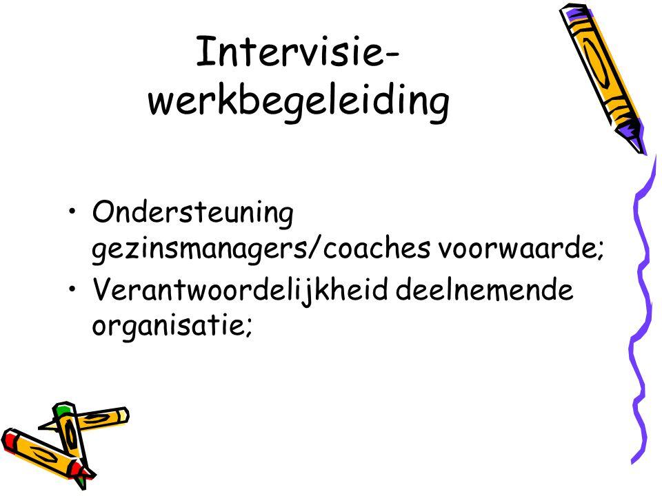 Intervisie- werkbegeleiding Ondersteuning gezinsmanagers/coaches voorwaarde; Verantwoordelijkheid deelnemende organisatie;