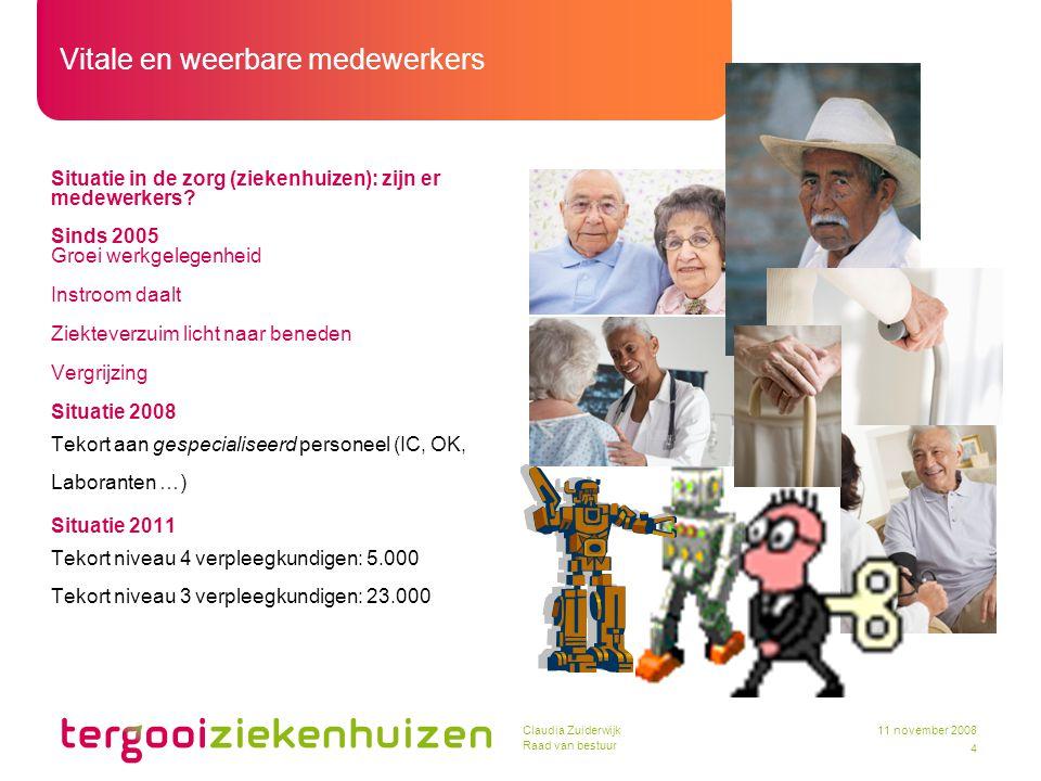 Vitale en weerbare medewerkers 4 11 november 2008Claudia Zuiderwijk Raad van bestuur Situatie in de zorg (ziekenhuizen): zijn er medewerkers? Sinds 20