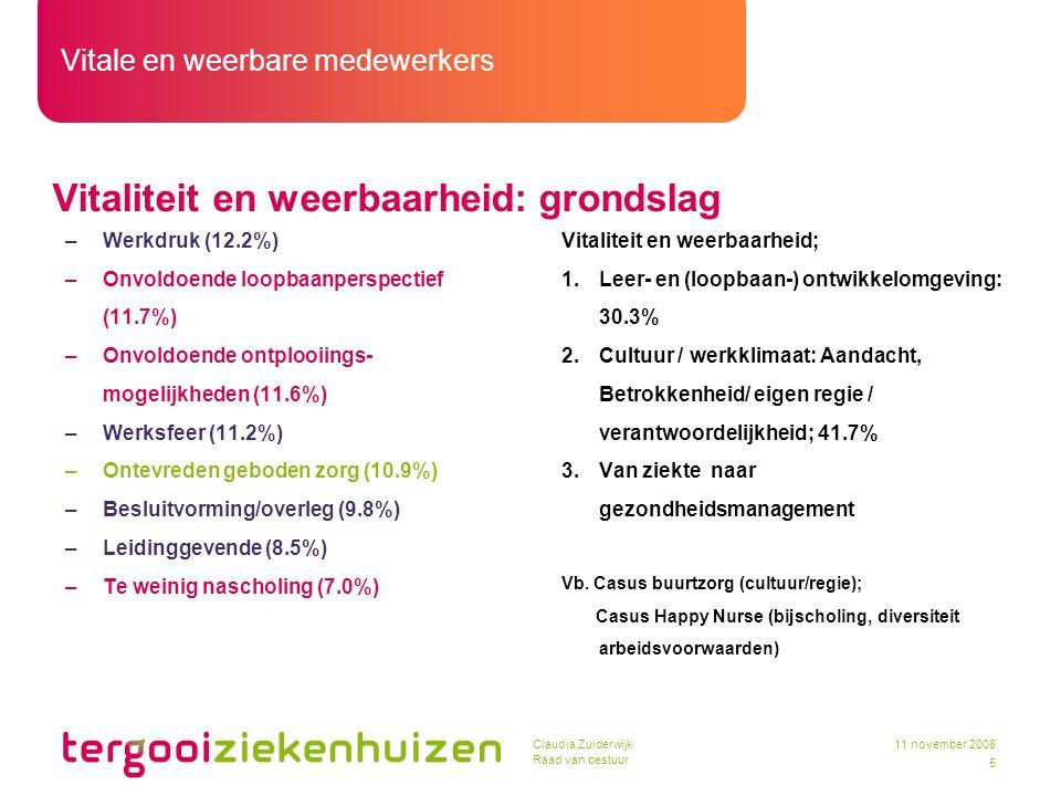 Vitale en weerbare medewerkers 5 11 november 2008Claudia Zuiderwijk Raad van bestuur Vitaliteit en weerbaarheid: grondslag –Werkdruk (12.2%) –Onvoldoe