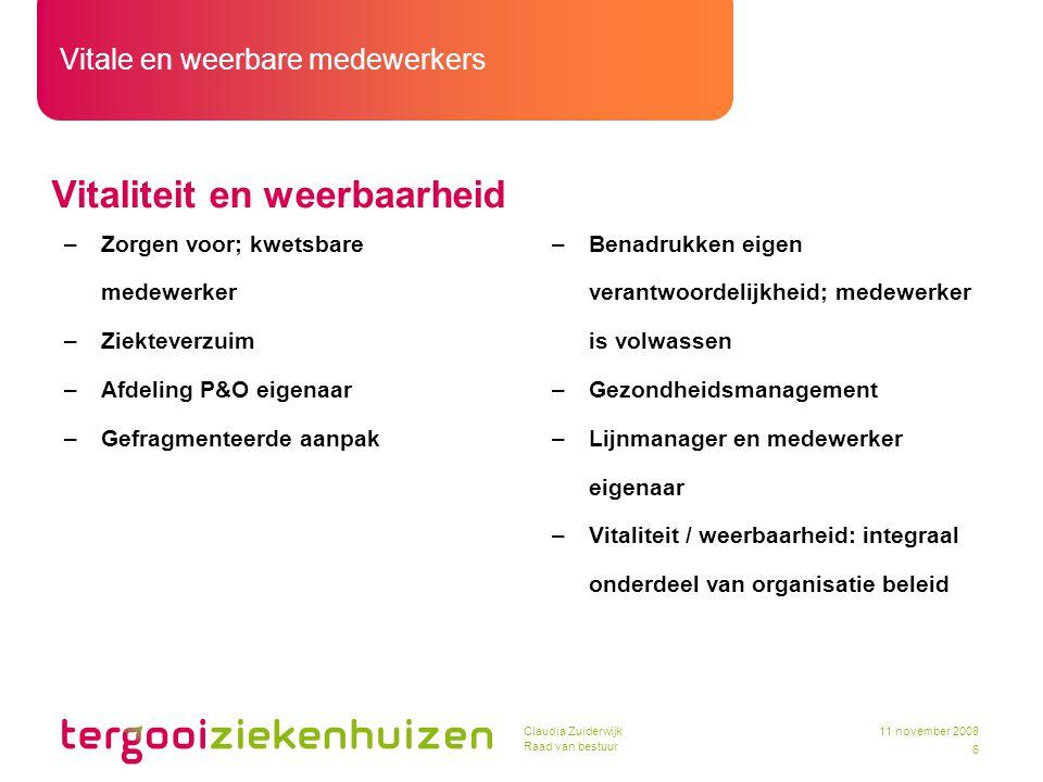 Vitale en weerbare medewerkers 6 11 november 2008Claudia Zuiderwijk Raad van bestuur Vitaliteit en weerbaarheid –Zorgen voor; kwetsbare medewerker –Zi