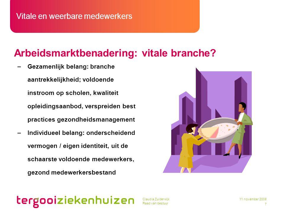 Vitale en weerbare medewerkers 7 11 november 2008Claudia Zuiderwijk Raad van bestuur Arbeidsmarktbenadering: vitale branche? –Gezamenlijk belang: bran