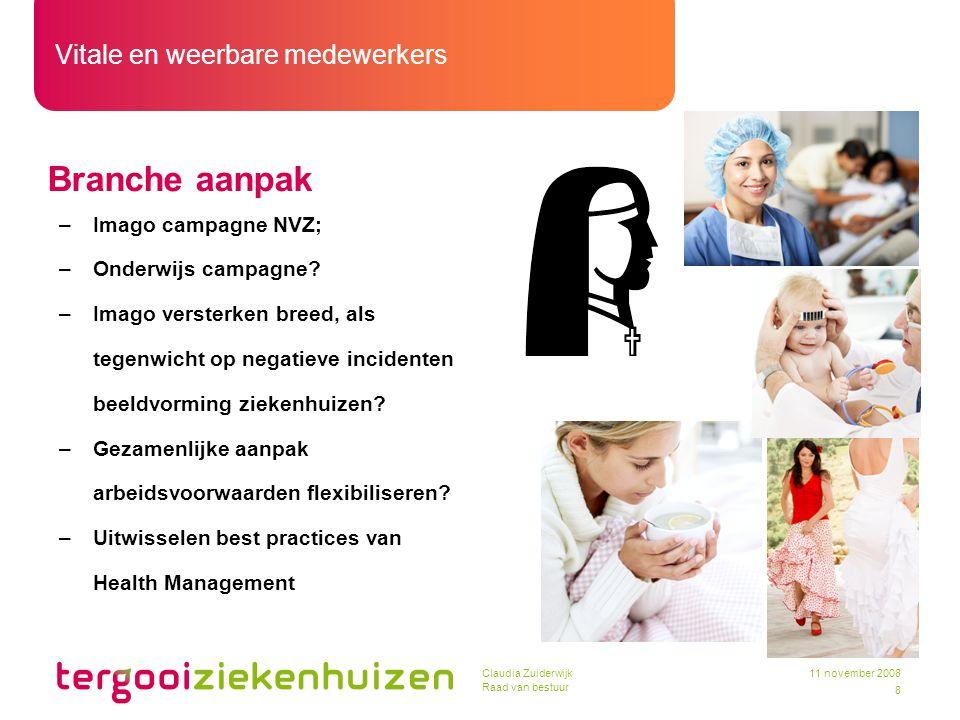 Vitale en weerbare medewerkers 8 11 november 2008Claudia Zuiderwijk Raad van bestuur Branche aanpak –Imago campagne NVZ; –Onderwijs campagne? –Imago v
