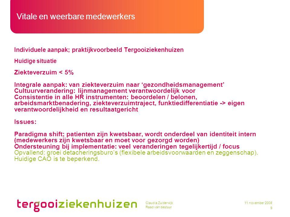 Vitale en weerbare medewerkers 9 11 november 2008Claudia Zuiderwijk Raad van bestuur Individuele aanpak; praktijkvoorbeeld Tergooiziekenhuizen Huidige