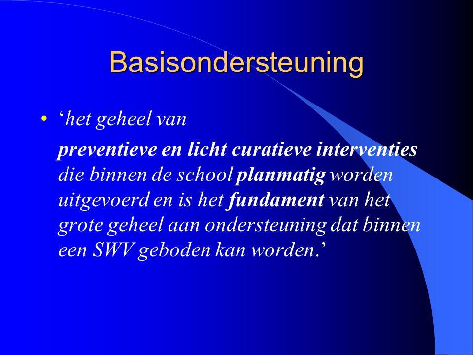 Basisondersteuning 'het geheel van preventieve en licht curatieve interventies die binnen de school planmatig worden uitgevoerd en is het fundament van het grote geheel aan ondersteuning dat binnen een SWV geboden kan worden.'