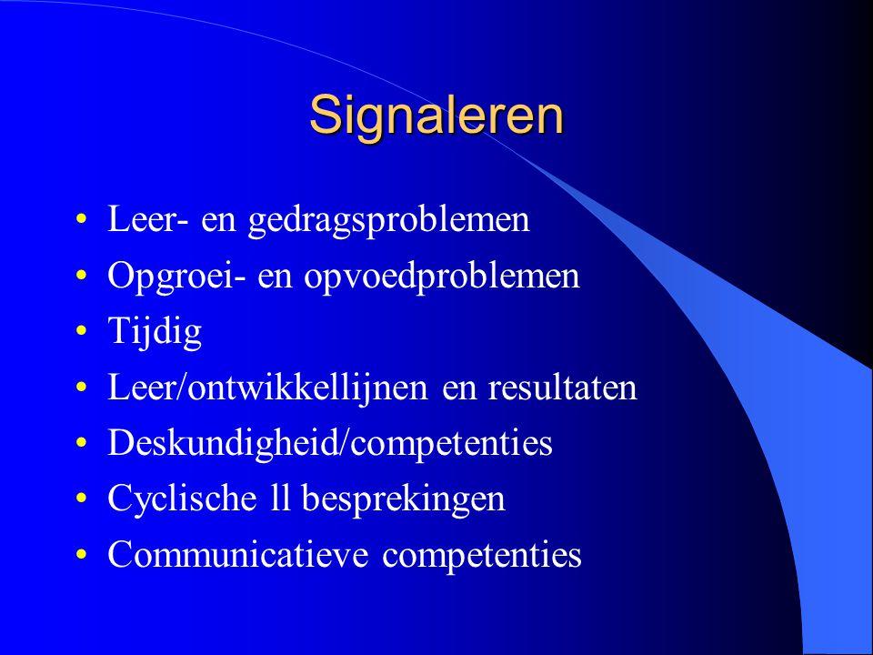 Signaleren Leer- en gedragsproblemen Opgroei- en opvoedproblemen Tijdig Leer/ontwikkellijnen en resultaten Deskundigheid/competenties Cyclische ll besprekingen Communicatieve competenties
