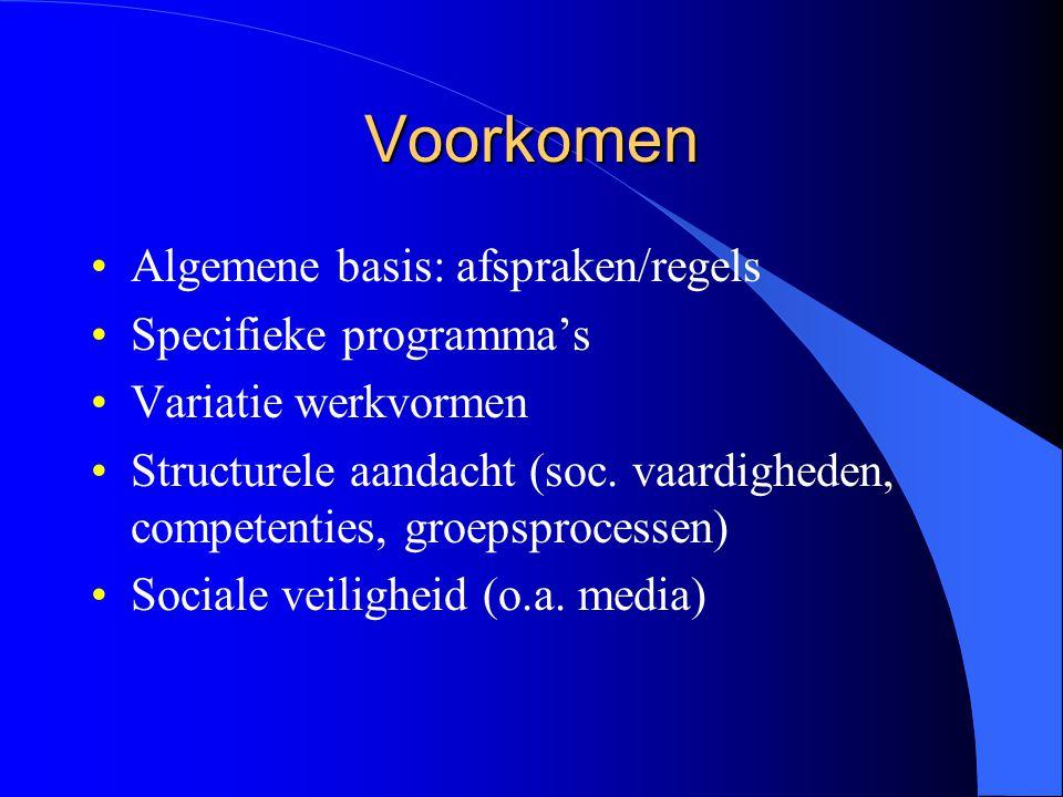 Voorkomen Algemene basis: afspraken/regels Specifieke programma's Variatie werkvormen Structurele aandacht (soc.