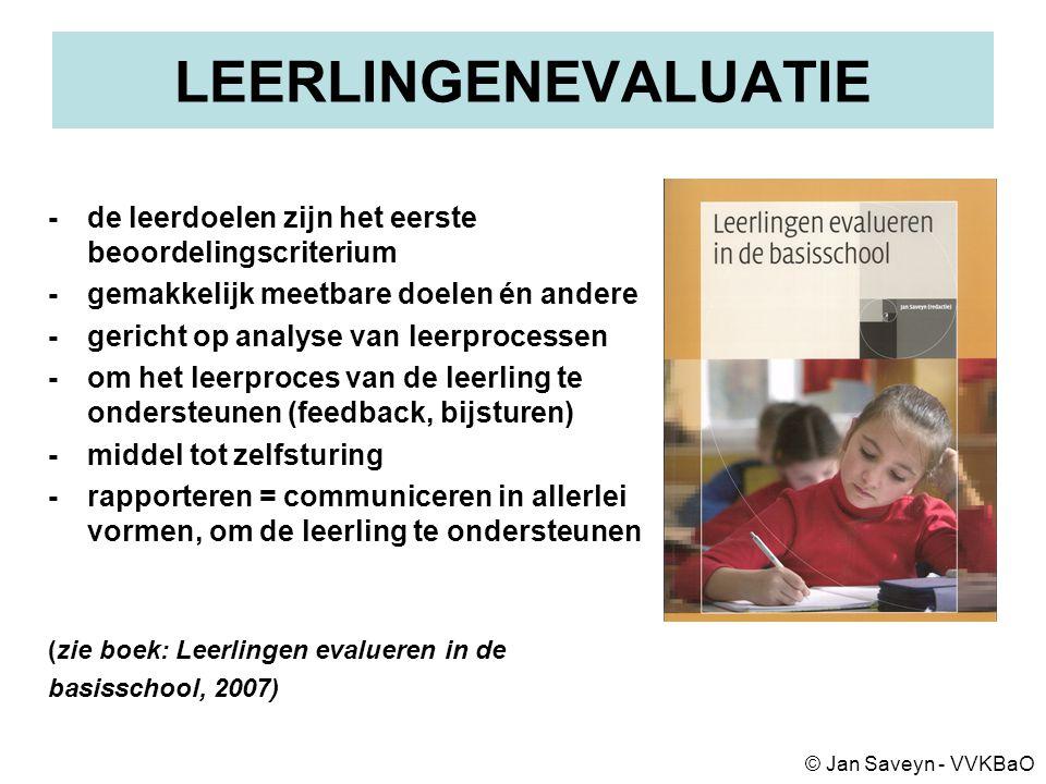 LEERLINGENEVALUATIE -de leerdoelen zijn het eerste beoordelingscriterium -gemakkelijk meetbare doelen én andere -gericht op analyse van leerprocessen -om het leerproces van de leerling te ondersteunen (feedback, bijsturen) -middel tot zelfsturing -rapporteren = communiceren in allerlei vormen, om de leerling te ondersteunen (zie boek: Leerlingen evalueren in de basisschool, 2007) © Jan Saveyn - VVKBaO