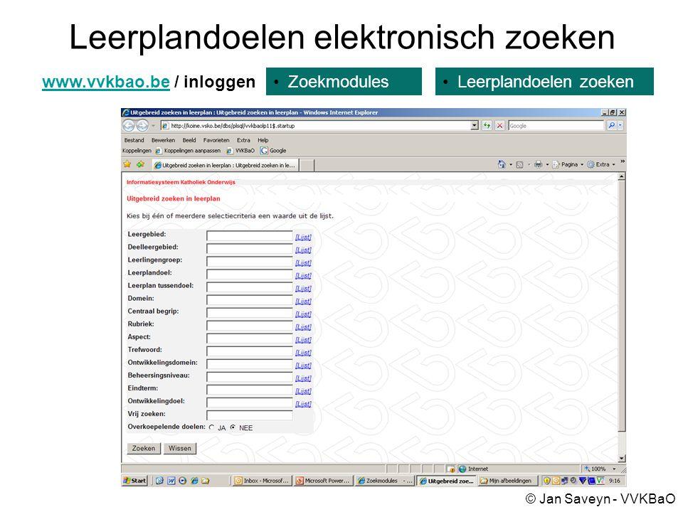 Leerplandoelen elektronisch zoeken Zoekmoduleswww.vvkbao.bewww.vvkbao.be / inloggen Leerplandoelen zoeken © Jan Saveyn - VVKBaO