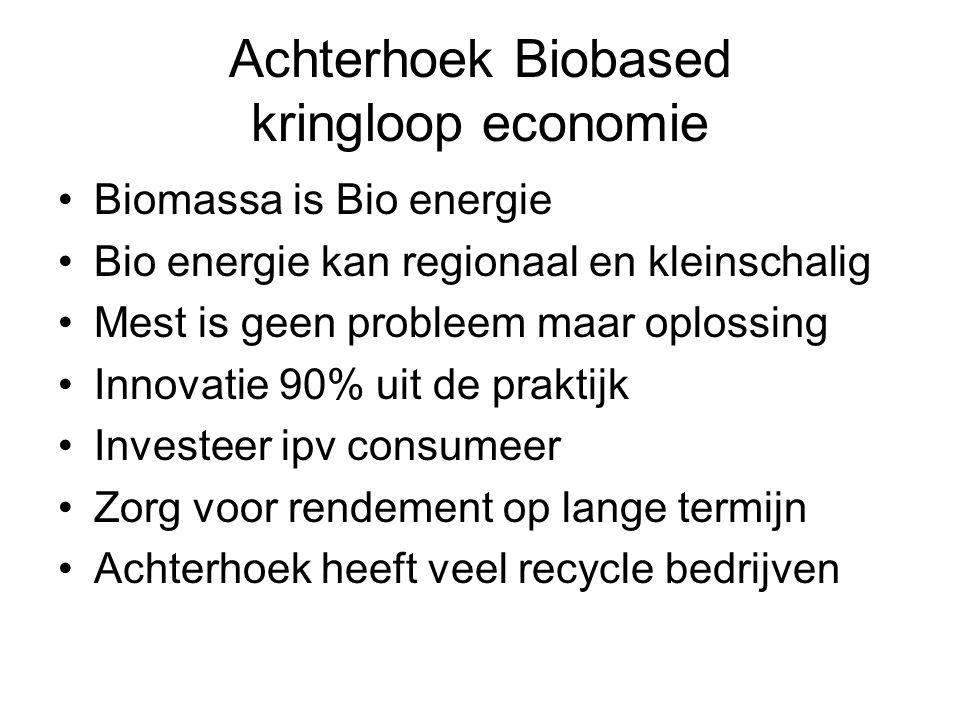 Achterhoek Biobased kringloop economie Biomassa is Bio energie Bio energie kan regionaal en kleinschalig Mest is geen probleem maar oplossing Innovatie 90% uit de praktijk Investeer ipv consumeer Zorg voor rendement op lange termijn Achterhoek heeft veel recycle bedrijven