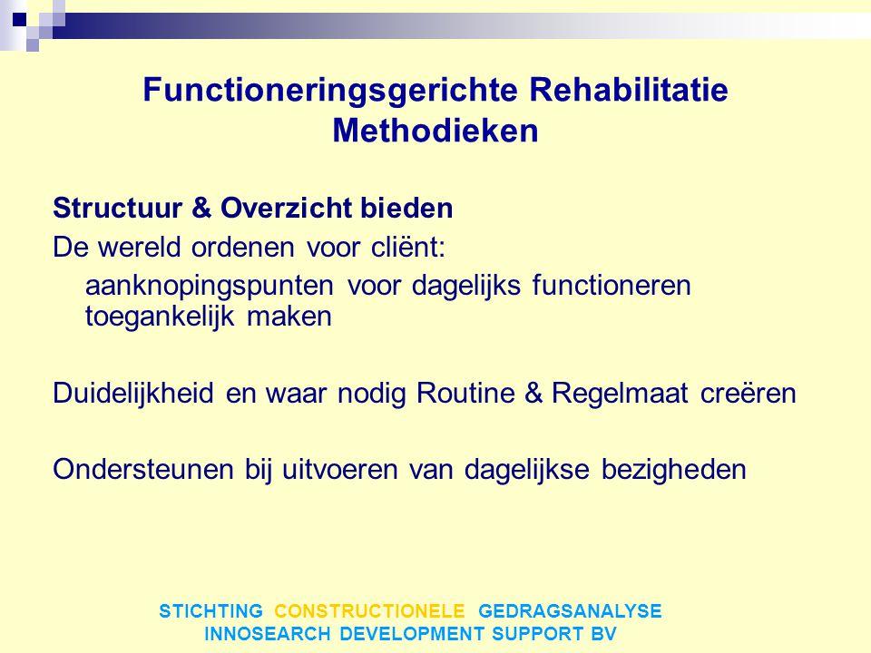 Functioneringsgerichte Rehabilitatie Methodieken Structuur & Overzicht bieden De wereld ordenen voor cliënt: aanknopingspunten voor dagelijks function