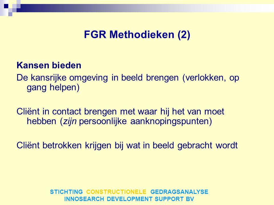FGR Methodieken (2) Kansen bieden De kansrijke omgeving in beeld brengen (verlokken, op gang helpen) Cliënt in contact brengen met waar hij het van mo