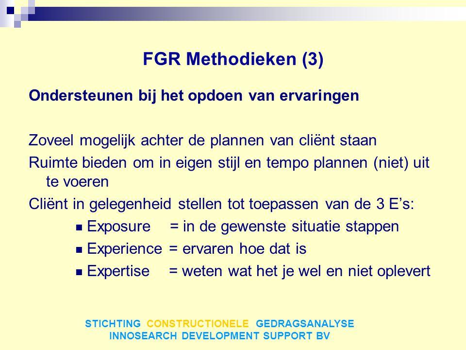 FGR Methodieken (3) Ondersteunen bij het opdoen van ervaringen Zoveel mogelijk achter de plannen van cliënt staan Ruimte bieden om in eigen stijl en t