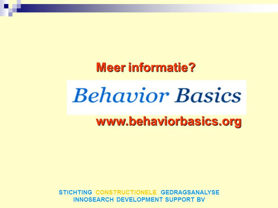 STICHTING CONSTRUCTIONELE GEDRAGSANALYSE INNOSEARCH DEVELOPMENT SUPPORT BV Meer informatie? www.behaviorbasics.org