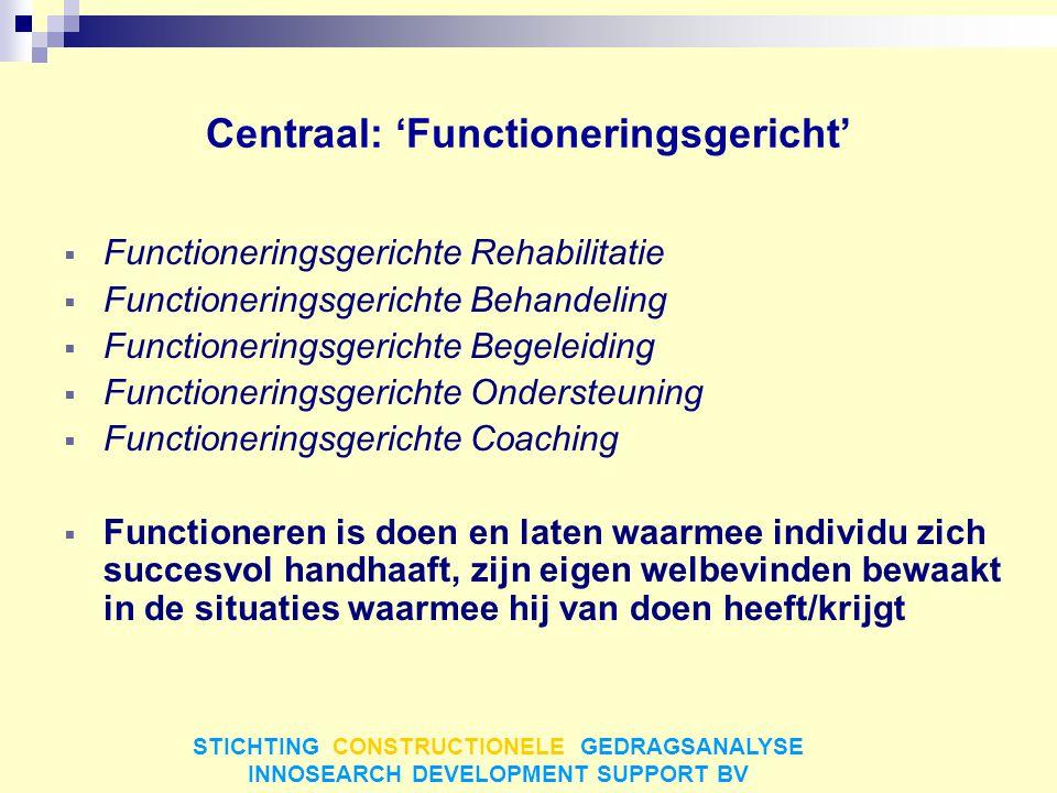 Centraal: 'Functioneringsgericht'  Functioneringsgerichte Rehabilitatie  Functioneringsgerichte Behandeling  Functioneringsgerichte Begeleiding  F