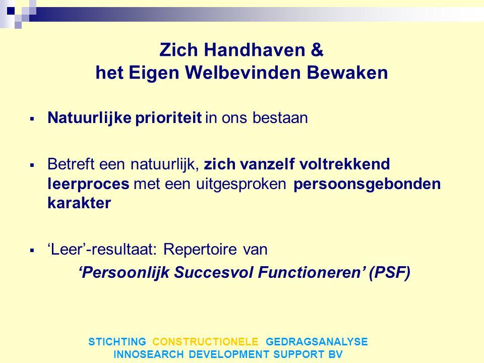 PSF  Opzoeken van aangename, direct bestaansbevorderende omgevingsaspecten (weldadig)  Ontsnappen aan negatieve (bestaansbedreigende) omgevingsaspecten (opgelucht) Vooral:  Voorkómen van confrontatie met negatieve omgevingsaspecten (gevoel van veiligheid, zekerheid) Dingen doen waarmee je goed zit, je veilig voelt, geen risico loopt op sociale uitsluiting STICHTING CONSTRUCTIONELE GEDRAGSANALYSE INNOSEARCH DEVELOPMENT SUPPORT BV