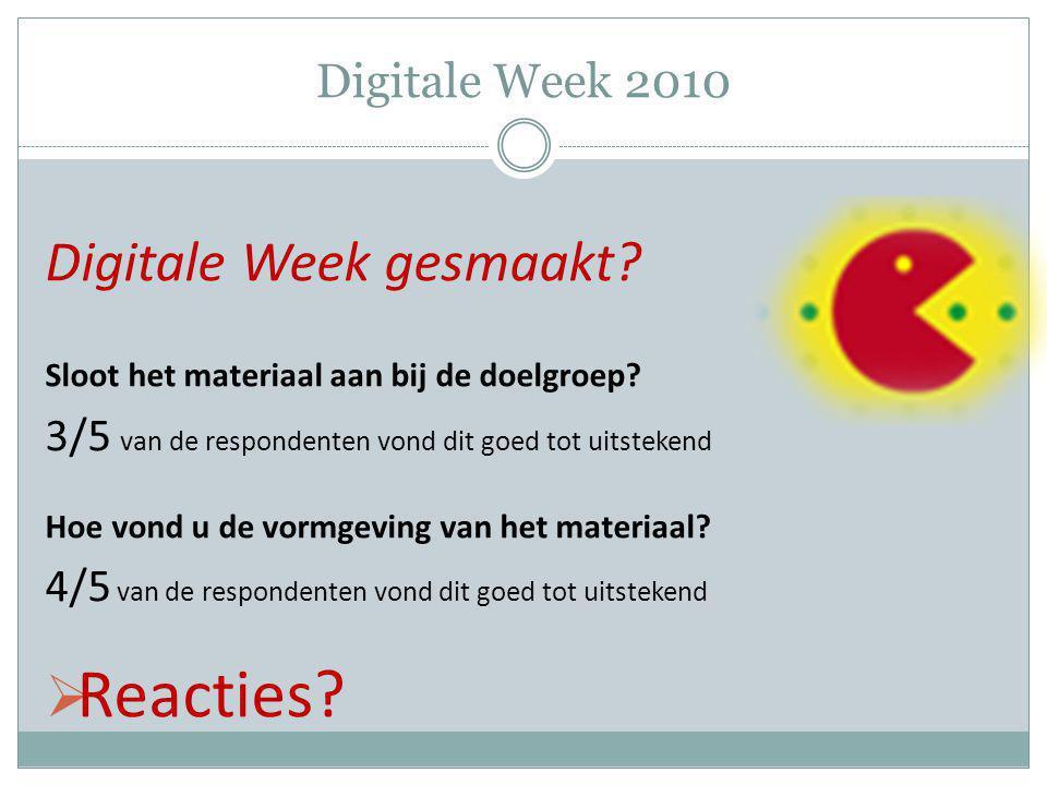 Digitale Week 2010 Digitale Week gesmaakt? Sloot het materiaal aan bij de doelgroep? 3/5 van de respondenten vond dit goed tot uitstekend Hoe vond u d