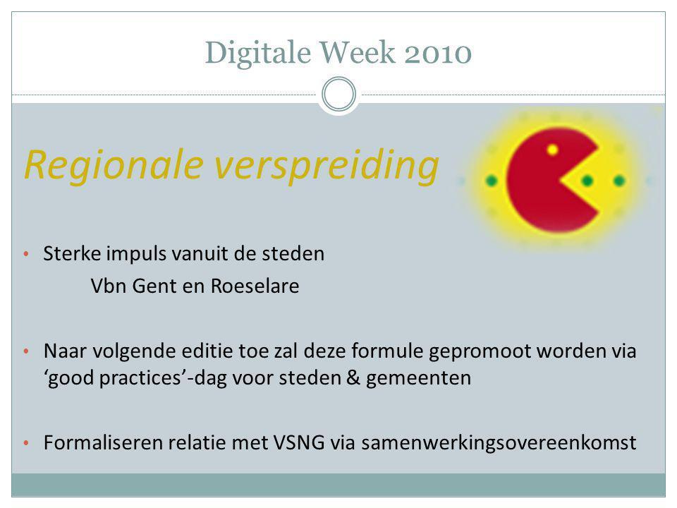 Digitale Week 2010 Regionale verspreiding Sterke impuls vanuit de steden Vbn Gent en Roeselare Naar volgende editie toe zal deze formule gepromoot wor