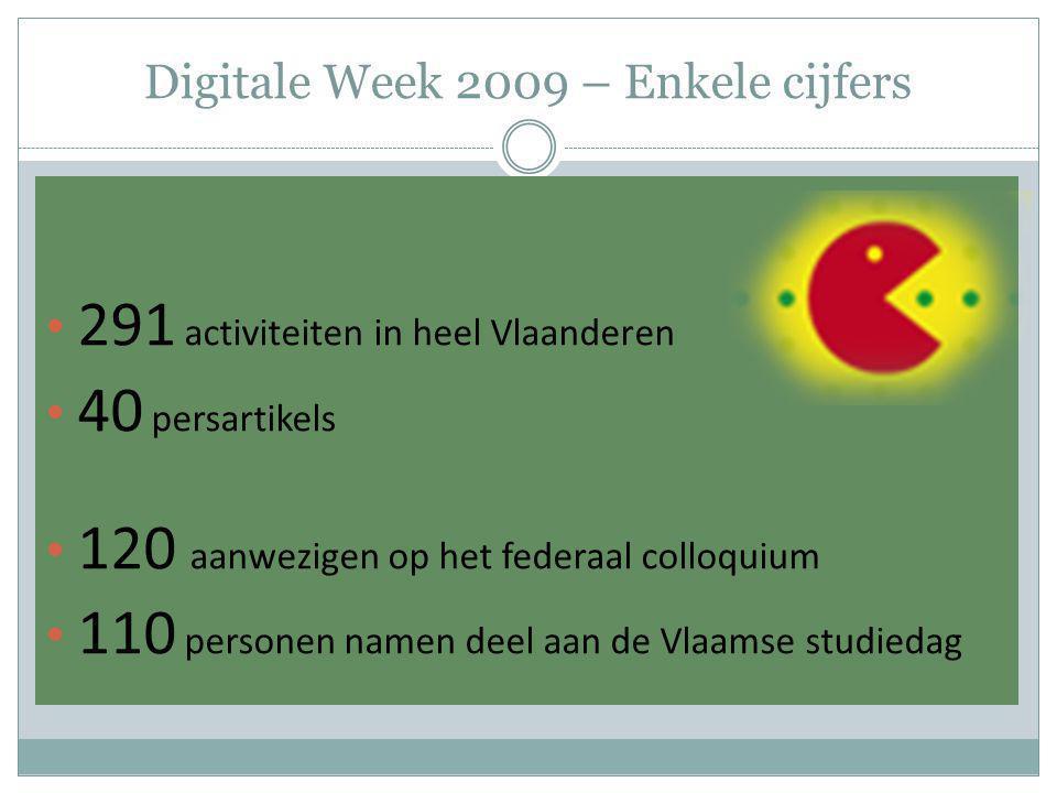Digitale Week 2009 – Enkele cijfers 291 activiteiten in heel Vlaanderen 40 persartikels 120 aanwezigen op het federaal colloquium 110 personen namen d