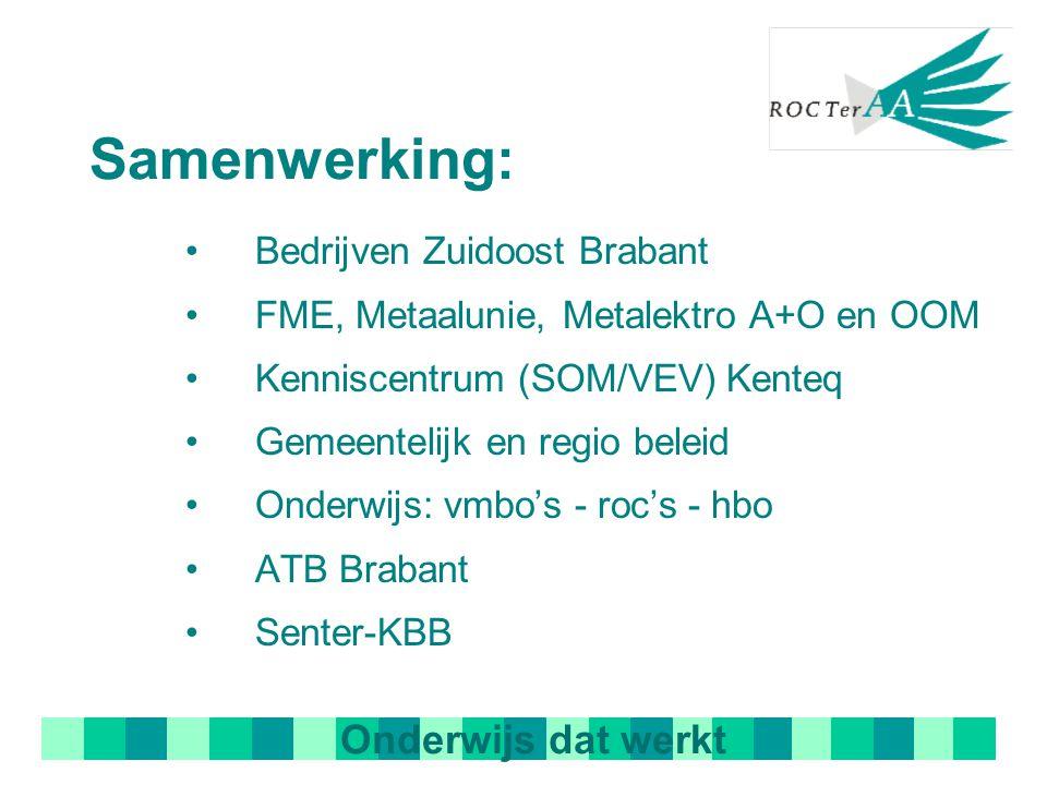 Samenwerking: Bedrijven Zuidoost Brabant FME, Metaalunie, Metalektro A+O en OOM Kenniscentrum (SOM/VEV) Kenteq Gemeentelijk en regio beleid Onderwijs: vmbo's - roc's - hbo ATB Brabant Senter-KBB Onderwijs dat werkt