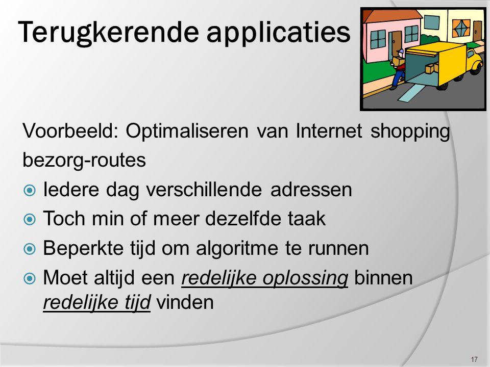 17 Terugkerende applicaties Voorbeeld: Optimaliseren van Internet shopping bezorg-routes  Iedere dag verschillende adressen  Toch min of meer dezelf