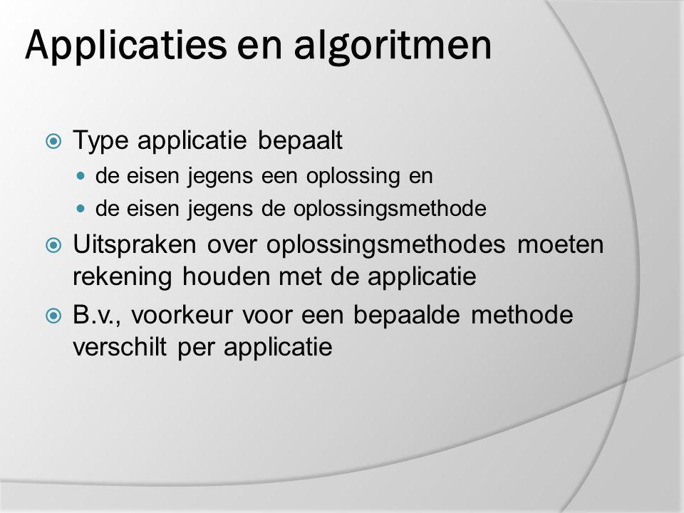 Applicaties en algoritmen  Type applicatie bepaalt de eisen jegens een oplossing en de eisen jegens de oplossingsmethode  Uitspraken over oplossings
