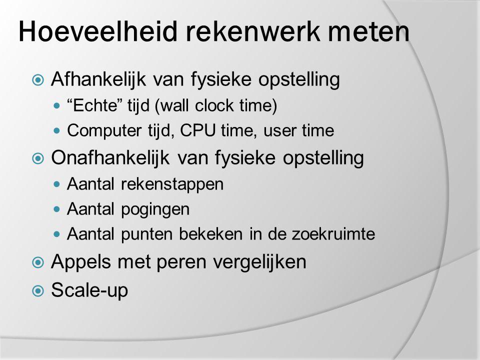 """Hoeveelheid rekenwerk meten  Afhankelijk van fysieke opstelling """"Echte"""" tijd (wall clock time) Computer tijd, CPU time, user time  Onafhankelijk van"""