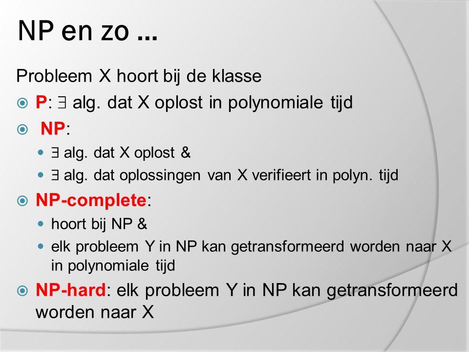 NP en zo … Probleem X hoort bij de klasse  P:  alg. dat X oplost in polynomiale tijd  NP:  alg. dat X oplost &  alg. dat oplossingen van X verifi