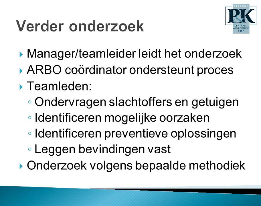  Manager/teamleider leidt het onderzoek  ARBO coördinator ondersteunt proces  Teamleden: ◦ Ondervragen slachtoffers en getuigen ◦ Identificeren mog