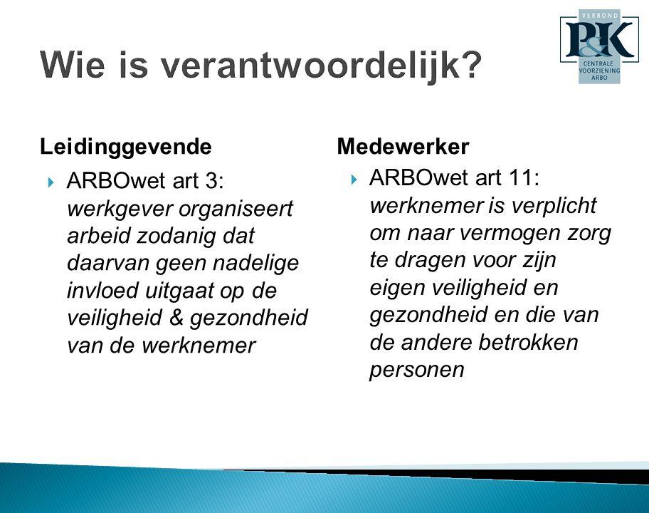 Leidinggevende  ARBOwet art 3: werkgever organiseert arbeid zodanig dat daarvan geen nadelige invloed uitgaat op de veiligheid & gezondheid van de we