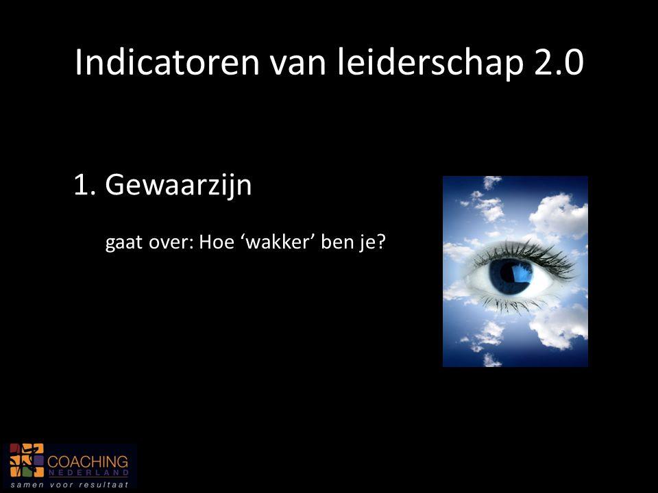 Indicatoren van leiderschap 2.0 1. Gewaarzijn gaat over: Hoe 'wakker' ben je?