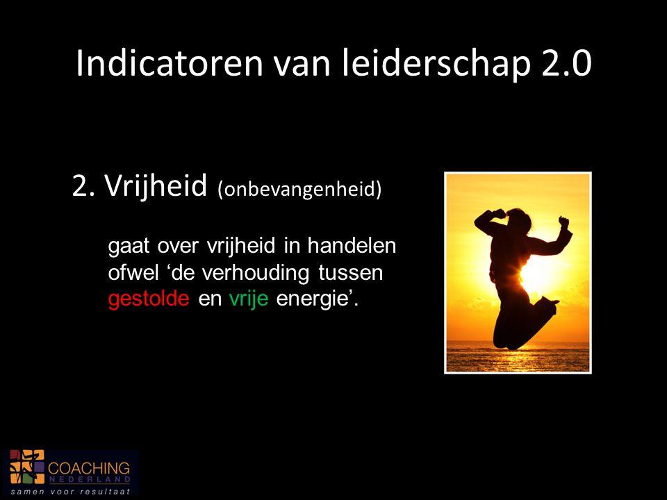 2. Vrijheid (onbevangenheid) gaat over vrijheid in handelen ofwel 'de verhouding tussen gestolde en vrije energie'. Indicatoren van leiderschap 2.0