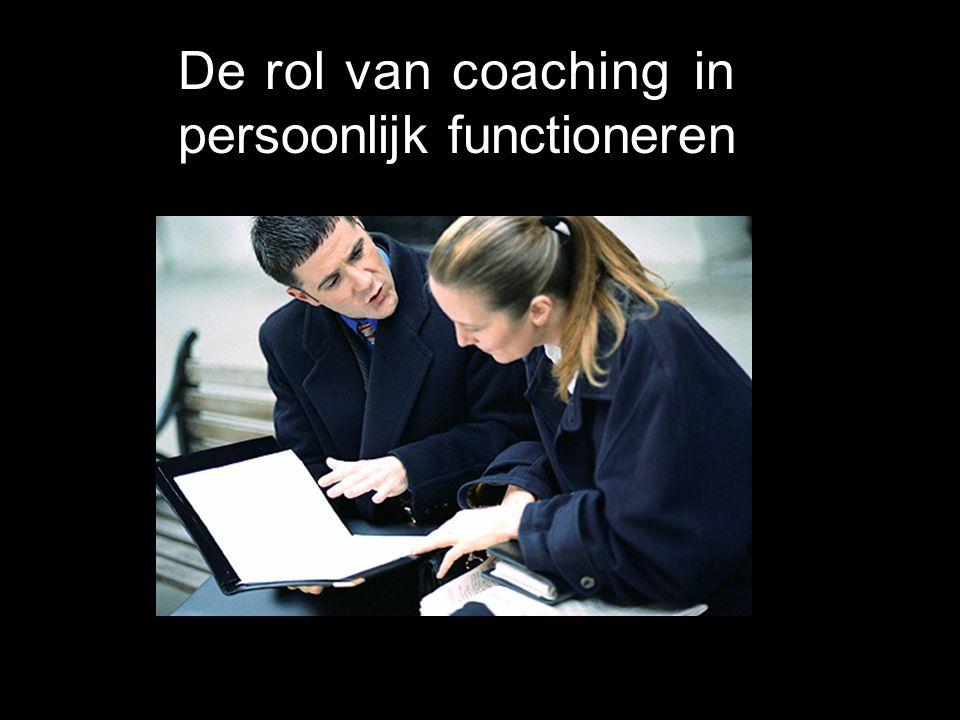 De rol van coaching in persoonlijk functioneren Gewaarzijn Vrijheid in handelen Verantwoordelijkheid Fatsoen Balans Gedragsflexibiliteit Hoe ontwikkel
