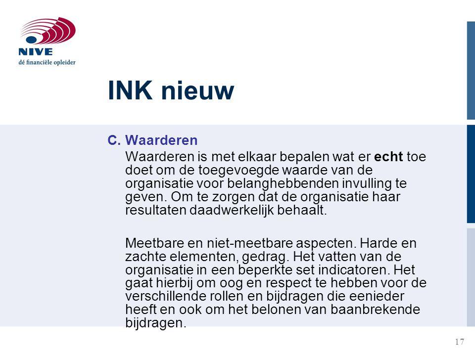 17 INK nieuw C. Waarderen Waarderen is met elkaar bepalen wat er echt toe doet om de toegevoegde waarde van de organisatie voor belanghebbenden invull