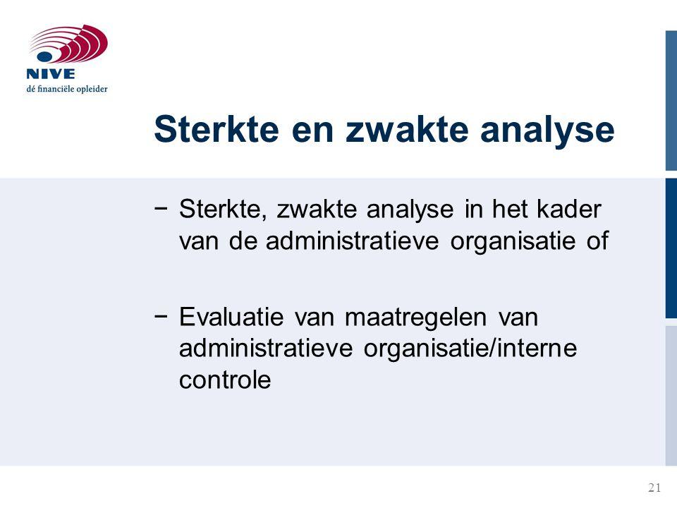 21 Sterkte en zwakte analyse −Sterkte, zwakte analyse in het kader van de administratieve organisatie of −Evaluatie van maatregelen van administratiev