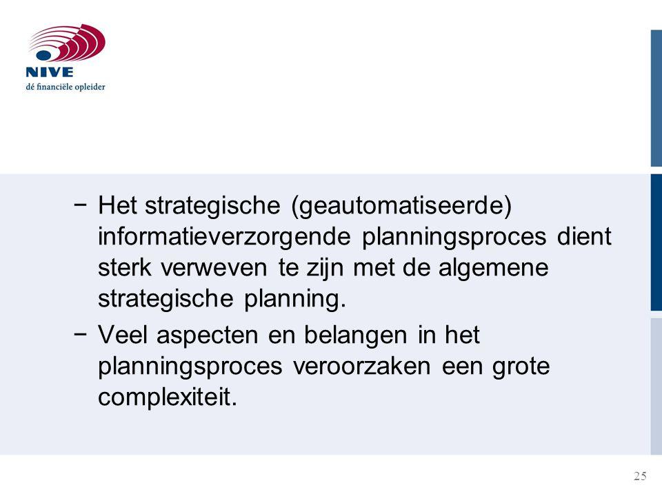 25 −Het strategische (geautomatiseerde) informatieverzorgende planningsproces dient sterk verweven te zijn met de algemene strategische planning. −Vee
