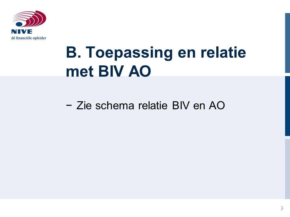 3 B. Toepassing en relatie met BIV AO −Zie schema relatie BIV en AO