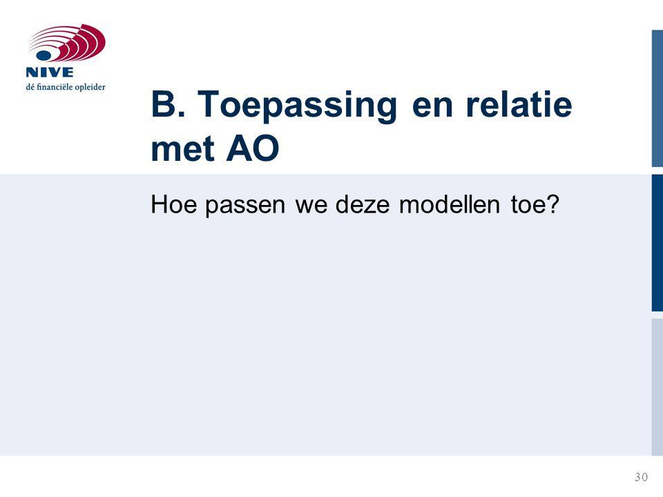 30 B. Toepassing en relatie met AO Hoe passen we deze modellen toe?