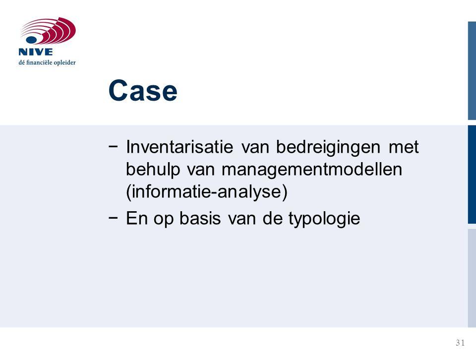 31 Case −Inventarisatie van bedreigingen met behulp van managementmodellen (informatie-analyse) −En op basis van de typologie