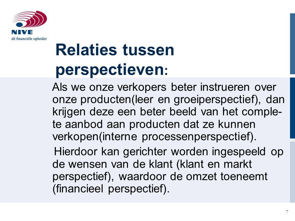 7 Relaties tussen perspectieven : Als we onze verkopers beter instrueren over onze producten(leer en groeiperspectief), dan krijgen deze een beter bee